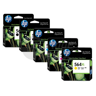 5 Pack HP 564XL Original Inkjet Cartridges CN684WA+CB323WA-CB325WA [2BK,1C,1M,1Y]