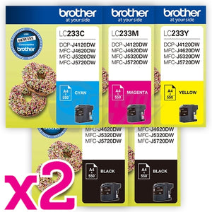 10 Pack Original Brother LC-233 Ink Combo [4BK+2C+2M+2Y]