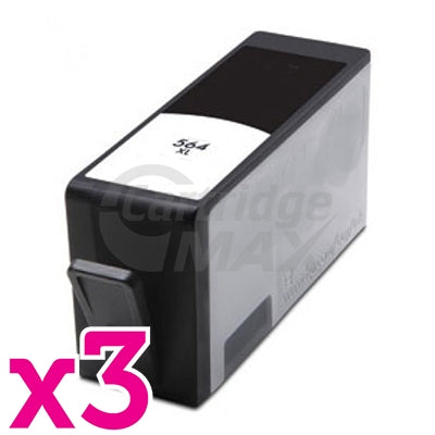 3 x HP 564XL Generic Black High Yield Inkjet Cartridge CN684WA - 550 Pages