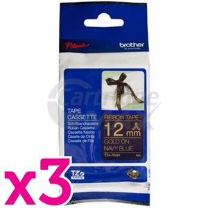 3 x Brother TZe-RN34 Original 12mm Gold Text on Navy Blue Ribbon Tape - 4 metres