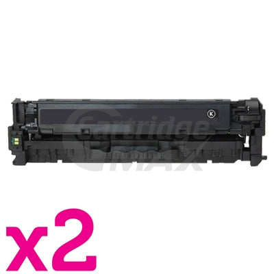 2 x HP CC530A (304A) Generic Black Toner Cartridge - 3,500 Pages