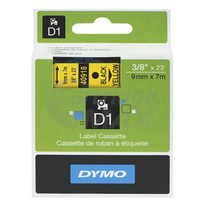 Dymo SD40918 / S0720730 Original 9mm Black Text on Yellow Label Cassette - 7 meters