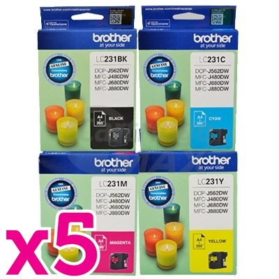 20-Pack Brother LC-231 Original Ink Combo [5BK,5C,5M,5Y]