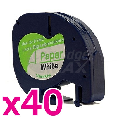 40 x Dymo SD91200 Generic 12mm x 4m Black on White LetraTag Label Paper Tape