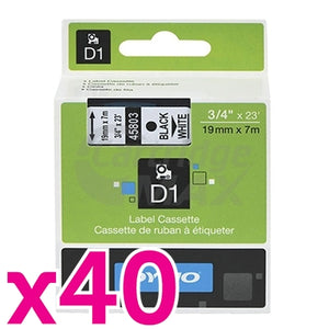 40 x Dymo SD45803 / S0720830 Original 19mm Black Text on White Label Cassette - 7 meters