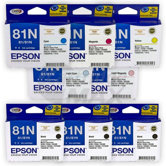 8 Pack Original Epson 81N HY Ink Cartridges [3BK,1C,1M,1Y,1LC,1LM]