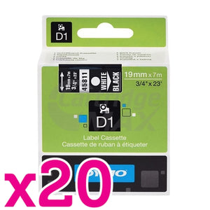 20 x Dymo SD45811 / S0720910 Original 19mm White Text on Black Label Cassette - 7 meters