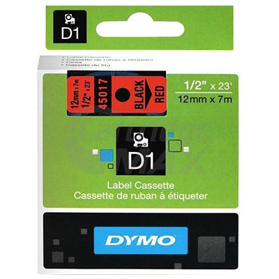 Dymo SD45017 / S0720570 Original 12mm Black Text on Red Label Cassette - 7 meters
