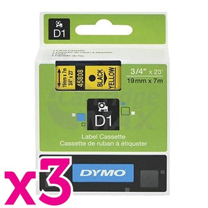 3 x Dymo SD45808 / S0720880 Original 19mm Black Text on Yellow Label Cassette - 7 meters