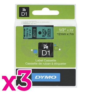 3 x Dymo SD45019 / S0720590 Original 12mm Black Text on Green Label Cassette - 7 meters
