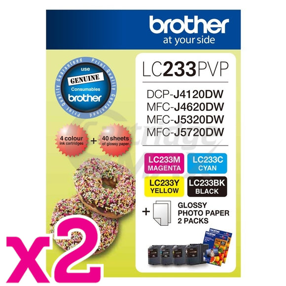 2 x Original Brother  LC-233PVP Photo Value Pack [2BK+2C+2M+2Y+Photo Paper]