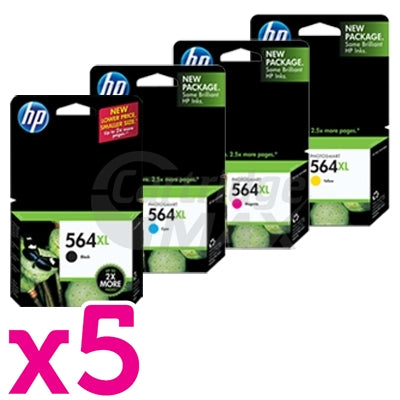 5 sets of 4 Pack HP 564XL Original Inkjet Cartridges CN684WA+CB323WA-CB325WA [5BK,5C,5M,5Y]