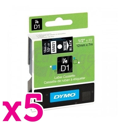 5 x Dymo SD45021 / S0720610 Original 12mm White Text on Black Label Cassette - 7 meters