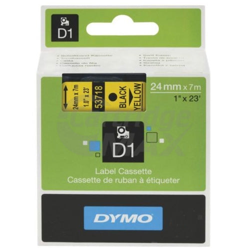 Dymo D1 SD53718 / S0720980 Original 24mm Black Text on Yellow Label Cassette - 7 meters
