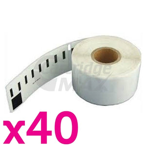 40 x Dymo SD99010 / S0722370 Generic White Label Roll 28mm x 89mm - 130 labels per roll