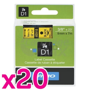 20 x Dymo SD40918 / S0720730 Original 9mm Black Text on Yellow Label Cassette - 7 meters