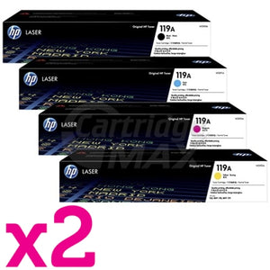 2 Sets of 4 Pack HP 119A W2090A-W2093A Original Toner Cartridges Combo [2BK,2C,2M,2Y]