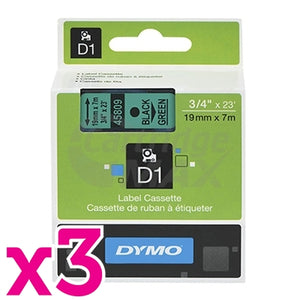 3 x Dymo SD45809 / S0720890 Original 19mm Black Text on Green Label Cassette - 7 meters