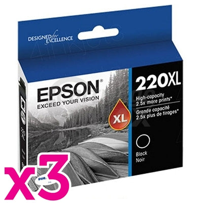 3 x Epson 220XL Original Black High Yield Ink Cartridge [C13T294192]