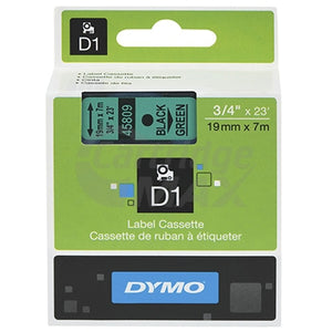 Dymo SD45809 / S0720890 Original 19mm Black Text on Green Label Cassette - 7 meters