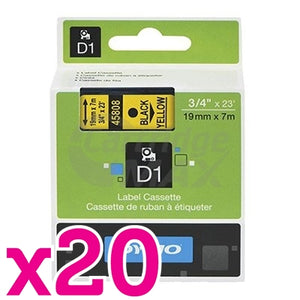 20 x Dymo SD45808 / S0720880 Original 19mm Black Text on Yellow Label Cassette - 7 meters