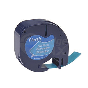 Dymo SD91205 Generic 12mm x 4m Black On Blue LetraTag Plastic Tape