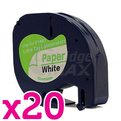 20 x Dymo SD91200 Generic 12mm x 4m Black on White LetraTag Label Paper Tape
