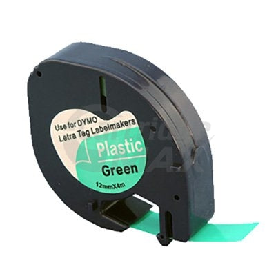 Dymo SD91204 Generic 12mm x 4m Black On Green LetraTag Plastic Tape