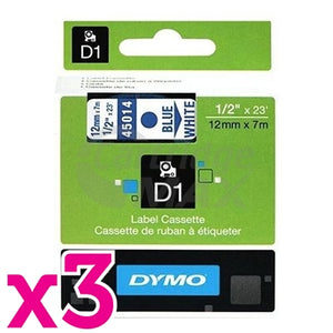 3 x Dymo SD45014 / S0720540 Original 12mm Blue Text on White Label Cassette - 7 meters