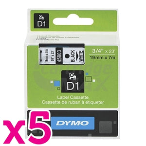 5 x Dymo SD45803 / S0720830 Original 19mm Black Text on White Label Cassette - 7 meters