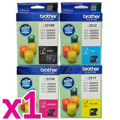 4-Pack Brother LC-231 Original Ink Combo [1BK,1C,1M,1Y]
