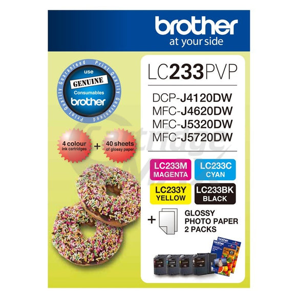 Original Brother  LC-233PVP Photo Value Pack [BK+C+M+Y+Photo Paper]