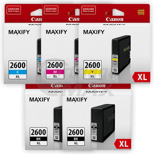 5 Pack Canon PGI-2600XL Original High Yield Ink Cartridge [2BK,1C,1M,1Y]