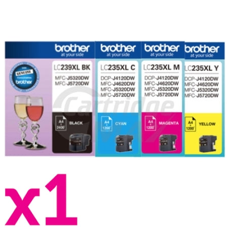 4 Pack Original Brother LC-239XL/LC-235XL High Yield Ink Combo [1BK,1C,1M,1Y]