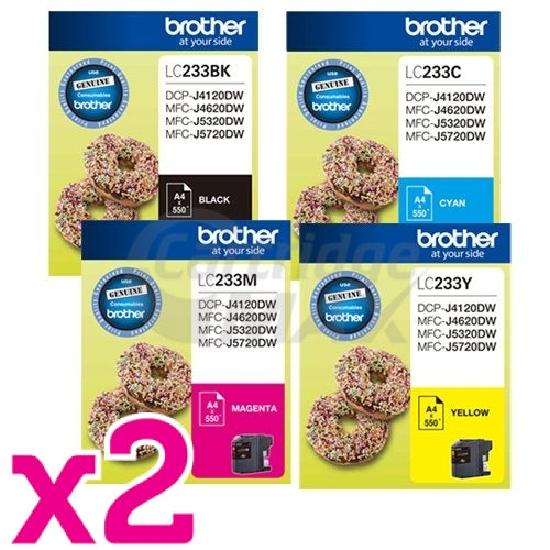 8 Pack Original Brother LC-233 Ink Combo [2BK+2C+2M+2Y]