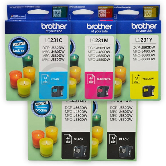 5-Pack Brother LC-231 Original Ink Combo [2BK,1C,1M,1Y]