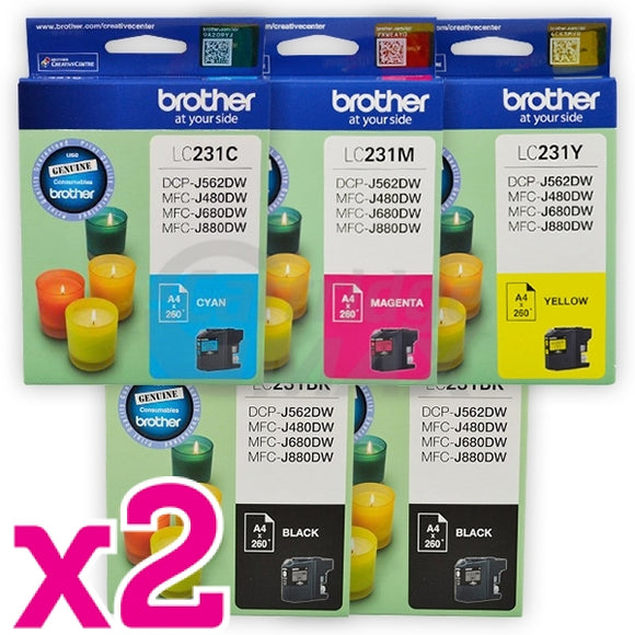 10-Pack Brother LC-231 Original Ink Combo [4BK,2C,2M,2Y]