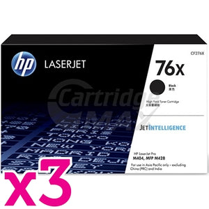 3 x HP 76X CF276X High Yield Original Black Toner Cartridge - 10,000 Pages