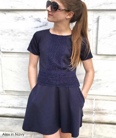 day dress neoprene 2 piece with short sleeve navy blue