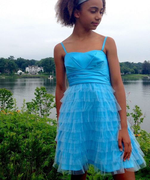 Junior Bridesmaid Party Dress Layered Tulle Mesh with Straps Frozen Blue