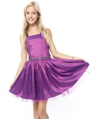Bat Mitzvah Attendee Dress With Straps Purple Orchid