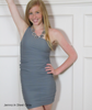 Party Dress Bodycon One Shoulder Stretch Jersey Gray
