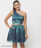 Party Dress Fit and Flare One Shoulder Sparkly Bottle Green