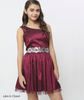 Party Dress Fit and Flare One Shoulder Sparkly Claret