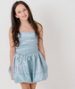 Mermaid Blue Stretchy Strapless Lia Dress