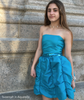 Junior Cotillion Dress With Draped Bubble Skirt Plain Tube Top Sequined Waist Aquarella