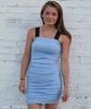 Day Dress Bodycon Stretch Jersey with Straps French Blue