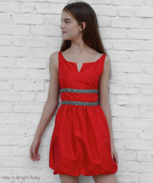 Cotillion Dress Notched Portrait Neckline Red