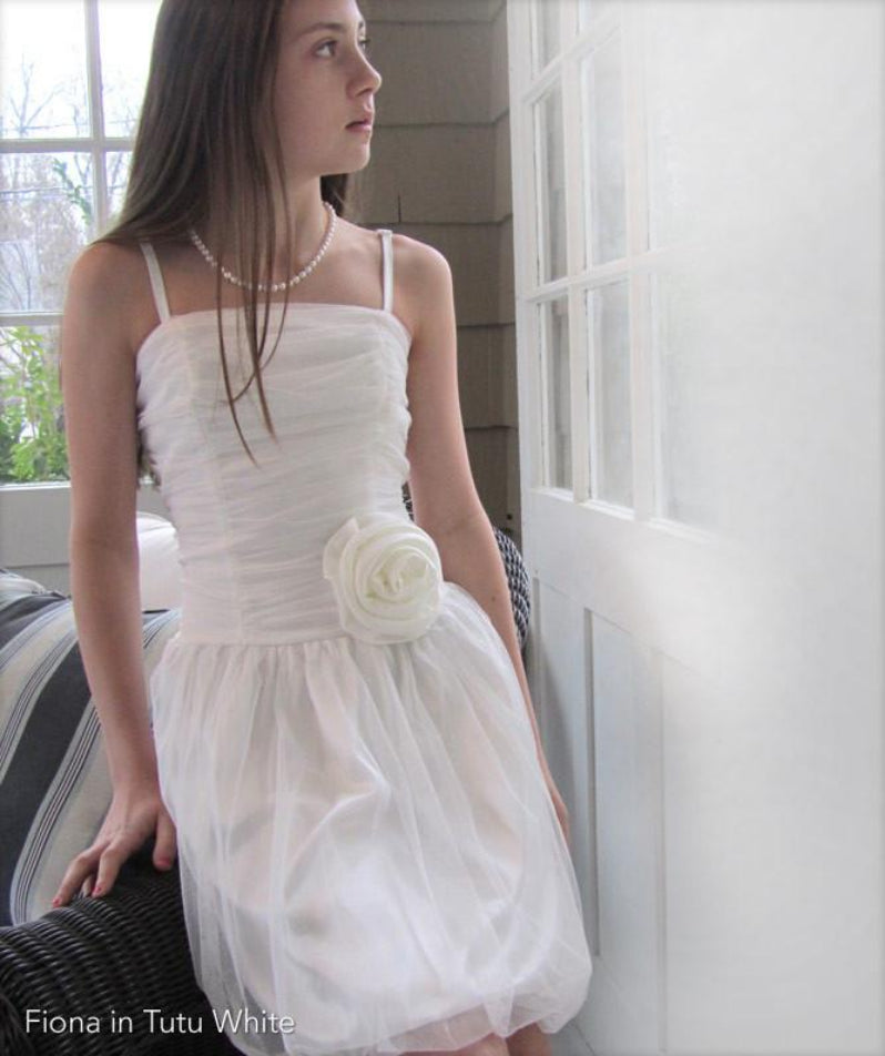 Confirmation Dress With Tulle Mesh And Flower Bow White