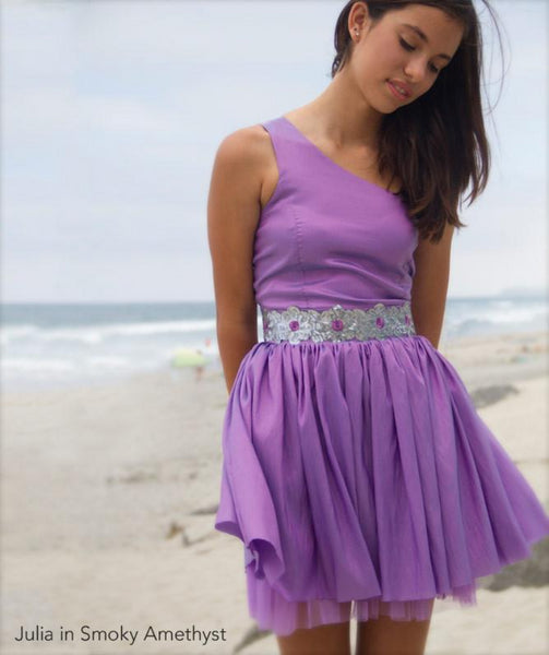 Party Dress Fit and Flare One Shoulder Sparkly Amethyst